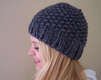 Charcoal Gray Knit Chunky Hat, Chunky Knit Beanie Hat, Gray Knit Hat, Winter Trends, Big Knit Gray Hat, Knit Grey Toque, Knit Cap Dark Gray