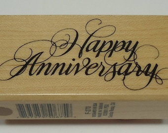 PSX F-270 Happy Anniversary Wood Mounted Rubber Stamp By Personal Stamp Exchange