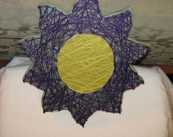 String ART, Flower Picture, Flower Purple and Yellow, Gift for Mom