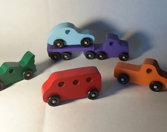 Handcrafted Play Pal Wood Toy Car Set.
