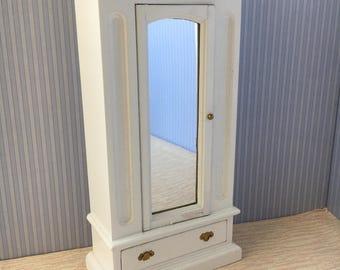 1/12 Miniature White Wooden Mirror Front Wardrobe