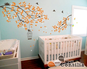 Nursery Branches with Birds Wall Decal - Wall Mural Sticker - Cherry Blossom Branches with Birdcage - Kids room wall decoration KC040