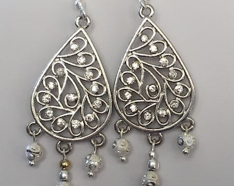 Silver Plated Crystal Encrusted Chandelier Teardrop Earrings with Silver Plated Beads and Silver Plated Earring Wires
