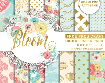 Spring Flowers Digital Printable Paper, Colorful Flowers Paper, Green Yellow Scrapbook Paper Pack, Floral Pink Roses Paper, Polka Dots Paper
