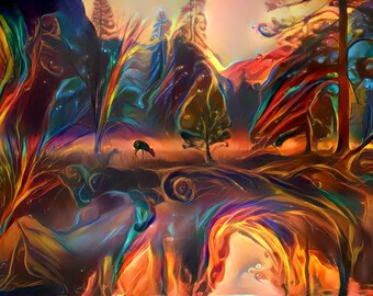 Electric Feel #10 Large Wall Art print Abstract decor Colorful Forest Deer spirit animal Beautiful landscape
