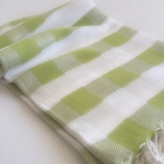 Bamboo Sauna Towels: Beach Towel Bamboo Peshtemal Towel Plaid Pattern Pure Soft