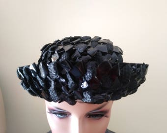 Vintage 1960s Union made hat black straw and net with matching small size black gloves all made in USA