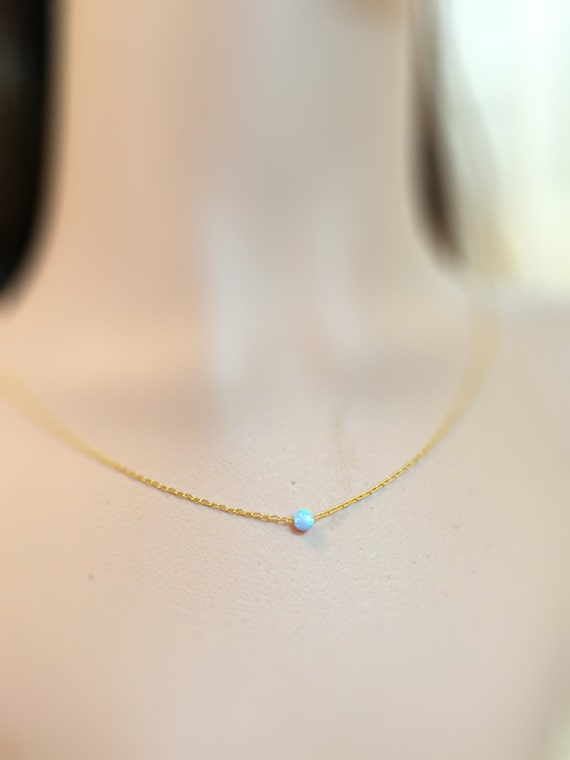 simple opal necklace everyday jewelry with opal bead 5mm