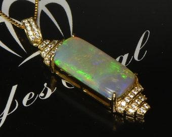 Elegant 18K Gold Opal Pendant, Crystal Opal Pendant, Australian national gemstone, Diamond,Opal Necklace,Best Gifts,Birthstone, YesOpal.com