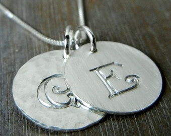 Double Silver Initial Necklace   Two Charm Sterling Silver   Personalized   Hand Stamped   Engraved   CALLIE DUO   E. Ria Designs