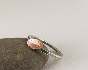 Copper and Silver Leaf Ring - Stacking Ring - Nature Inspired Jewelry - Botanical Jewelry