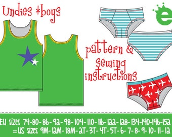 Undies for boys Euro-Size 74-152 / US-size 9m to 12 years / PDF and pattern instant download / instructions in English or German