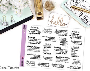 """SNARK SERIES: """"Buckle Up, Buttercup... There's F*ckery Afoot."""" Paper Planner Stickers"""
