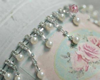 "1 meter 3.8cm 1.49"" wide ivory pearls Rhinestones beads tassel fringe tapes lace trim ribbon S31Q994P0910C free ship"