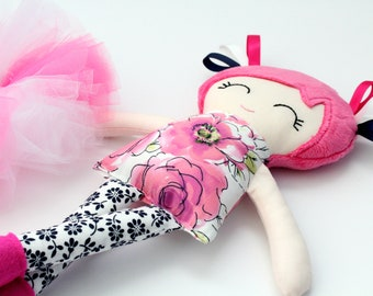 Handmade Fabric Doll with Tutu   Cloth Doll for Girls First Birthday   Rag Doll   Ballerina Doll   Pink Nursery   Baby Shower Gift