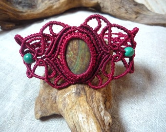 red macrame bracelet with chrysocolle stone