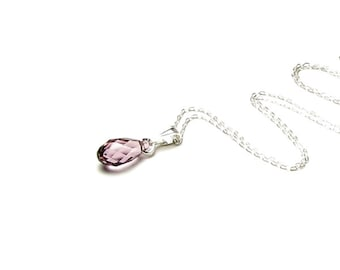 Dainty Antique Pink Swarovski Crystal Briolette Drop Sterling Silver Chain Pendant Necklace Simple Tiny Delicate Feminine Rose Jewelry Gift