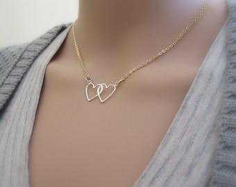 Verflochten Herzen Halskette, zwei Herzen, Liebe Halskette, Silber Halskette, Goldkette, Paare Schmuck, Gold und Silber, tägliche Halskette