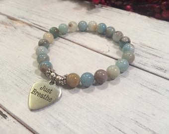 Amazonite bracelet, yoga bracelet, gift for yogi, yoga wrist mala beads,  for courage, compassion and truth, throat chakra Jewellery