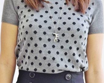 Long Silver Antler Necklace - Sterling Silver Necklace - Deer Antlers - Minimalist Modern Simple