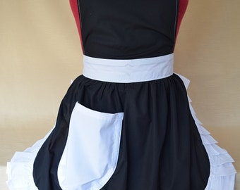 Retro Vintage 50s Style Full Apron / Pinny - Black with White Trim