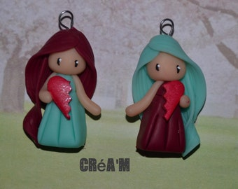 Set of 2 Poupettes polymer clay Burgundy and green dresses - BFF Collection - handmade jewelry