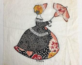 Vintage Southern Belle Quilt Block 10 Inch Woman with Bonnet and Parasol Estate Sale
