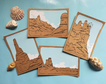 Set of four printed postcards