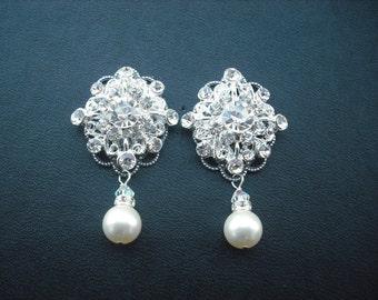 Claire, Bridal Earrings, Rhinestone Crystal And Pearl Drop Earrings, Art Deco Vintage Style Bridal Earrings, Weddng Jewelry