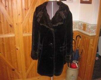 Vtg Glam Rock plush black  Faux fur Coat  ladies Medium huge shawl mink collar immaculate ladies union made