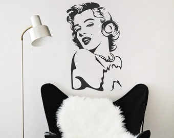 Marilyn Monroe Wall Decal, Marilyn Monroe Vinyl Sticker Decal, Iconic  Celebrities Wall Vinyl Sticker, Hollywood Actress Wall Decal Art, A82