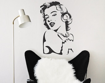 Marilyn Monroe Wall Decal, Marilyn Monroe Vinyl Sticker Decal, Iconic  Celebrities Wall Vinyl Sticker