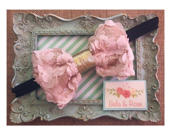 Pink Ruffle and Sequence Headband