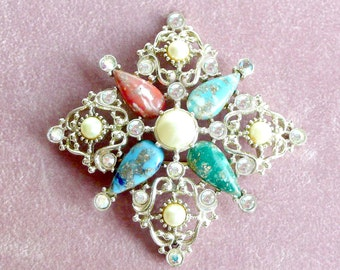 Brooch Rhinestones Pearls Beads Sarah Coventry Vintage 1970