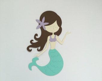 Set of 4 Mermaid Die Cuts, Mermaid Party, Under The Sea Party, Under The Sea Die Cuts, Mermaid Party Decor, Mermaid Paper Supplies