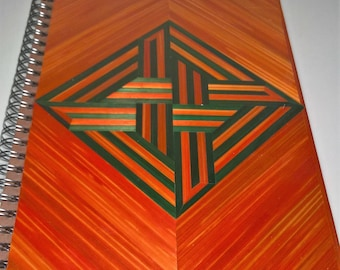 Decorated in straw marquetry notebook trompe l'oeil green and orange