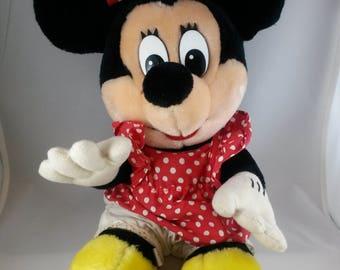 "Vintage Minnie Mouse Plush Disney Stuffed Animal Toy 11"""