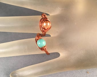 BOGO Copper and Pink Pearl Ring & Copper and Turquoise Ring, Two Wire Wrapped Rings Size 7.25, One of a Kind Previously 30 Dollars ON SALE