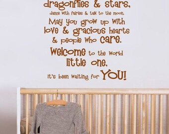 May You Touch Dragonflies & Stars - Welcome To the World Little One Vinyl Wall Decal - You Choose Color And Size - 029