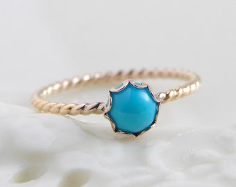 December Birthday 14K GF Turquoise Ring ~ Sleeping Beauty Turquoise Ring ~ 14K Gold FIlled Twisted Ring ~ Simple Modern Jewelry by PetitBlue