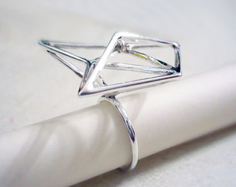 Geometric triangle structure, Sterling silver ring, handmade by me.