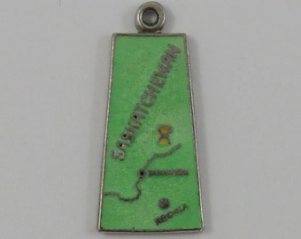 Map of Saskatchewan With Green Enamel Sterling Silver Vintage Charm For Bracelet