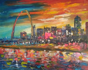 St Louis at Night MO-Pen King -A1429