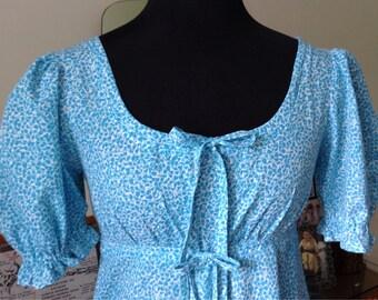 """Handmade Blue Floral  Maxi Dress - 32"""" Bust - 1970s - Empire - Austen - Festival - Garden Party - Wedding"""