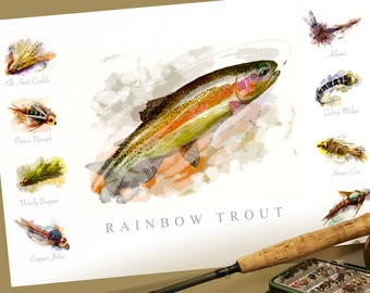 Rainbow Trout Fly Fishing and Flies Watercolor Poster Print 19 x 13