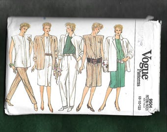 Vintage 1980's Vogue 9504 Misses' Wardrobe With Loose Fitting Tunic Top, Jacket, Skirt, Pants, And Dress,Sizes 8-10-12 UNCUT