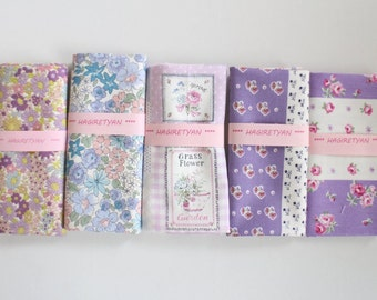 "5"" x 5""  5 FLORAL Japanese fabric Patchwork Charm Squares  No.21"