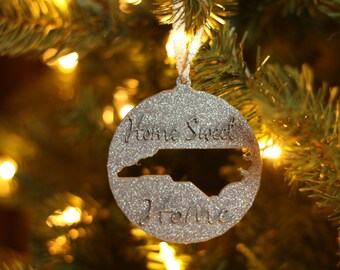 Personalized Christmas Ornament - Your State - Glitter Ornament - Christmas Oranment - Silver - Gold- Home Sweet Home Christmas Ornament