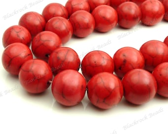 16mm Red Magnesite Gemstone Beads - 15.5 Inch Strand - Round, Opaque, Black Veining - BG29