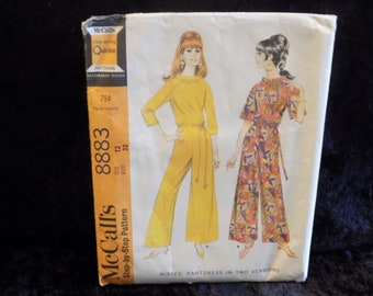 Vintage 1960s McCall's Pattern #8883, Misses' Pantdress, Womens Jumpsuit, Formal or Casual Style, On Trend Style, Size 12 Bust 32